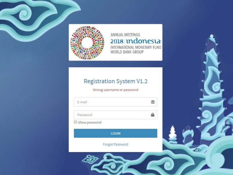 Registration System For IMF-WB Annual Meeting 2018